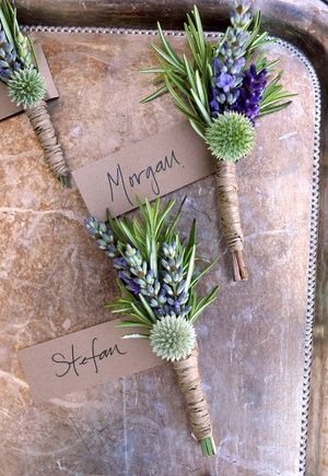 Boutonnieres featuring lavender and globe thistle designed by Clare Day Recreate this adorable rustic boutonnieres with dried globe thistle from http://www.afloral.com/ #rusticwedding