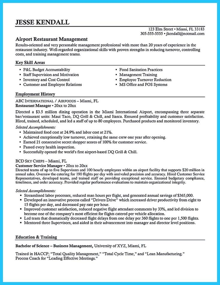 Career History And Key Skills Area Restaurant Manager Resume Samples Sample