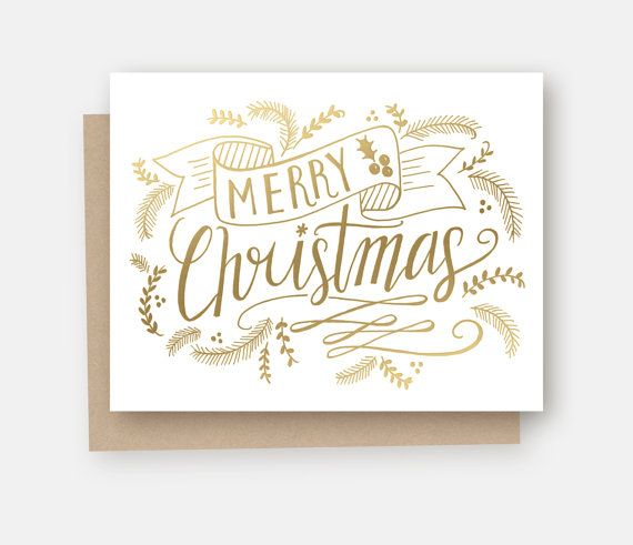Merry Christmas Gold Foil Note Card  Gold Foil by LilyandVal