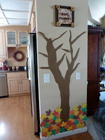 Thankful Tree: For the month of November, each day add a leaf with something written on it that your child is thankful for and place it on the tree. :)