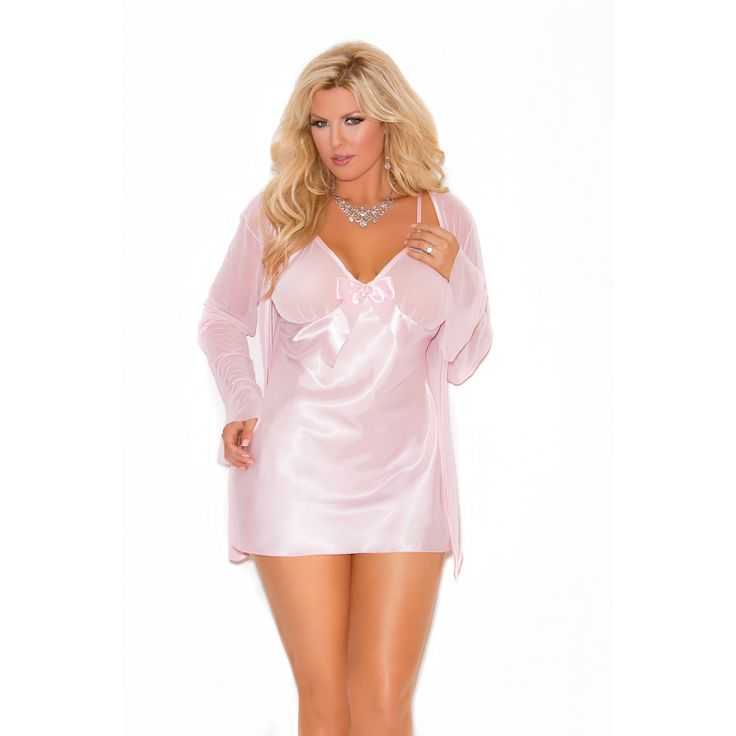 Elegant Moments Women's Plus Size Babydoll/ Matching G-string and Mesh Long Sleeve Coat
