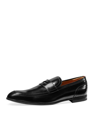 N3U7P Gucci Ravello Leather Penny Loafer, Black