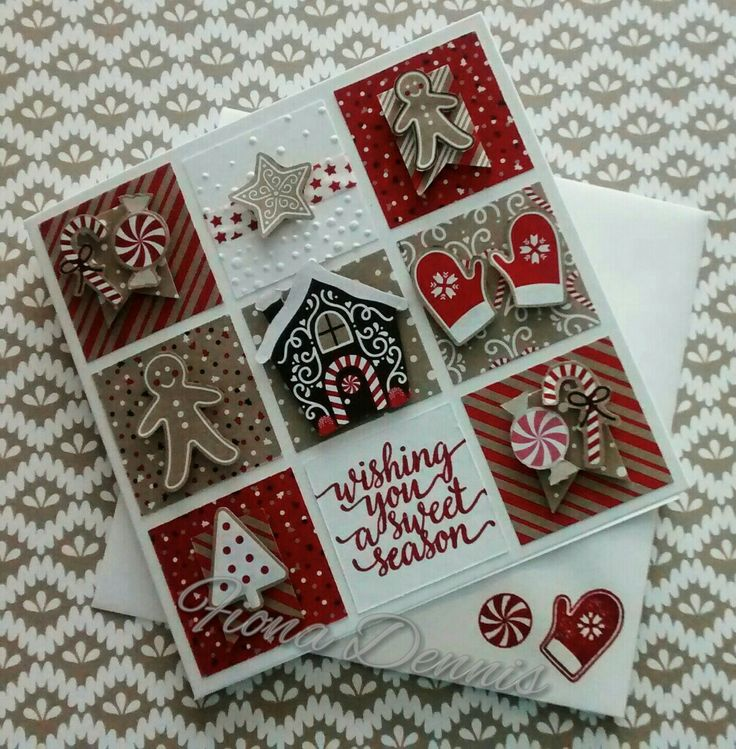 Stampin' Up Candy Cane Lane DSP Christmas Sampler Card