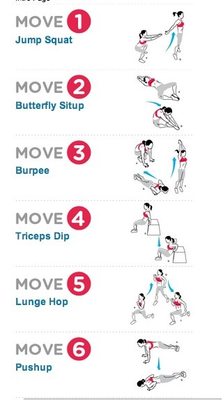 crossfit.. 10 reps of each move without resting in between. As many rounds as you can in 15 mins.