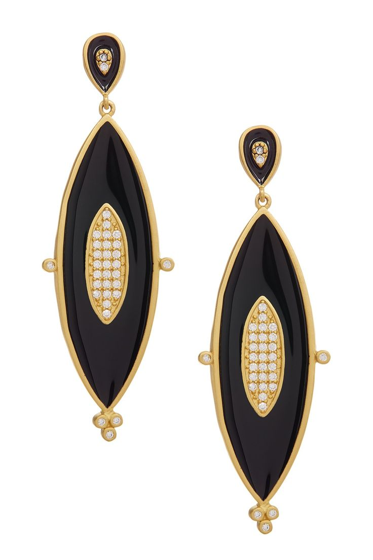 Freida Rothman | 14K Gold Plated Sterling Silver Black Enamel Marquise Drop Earrings | Nordstrom Rack