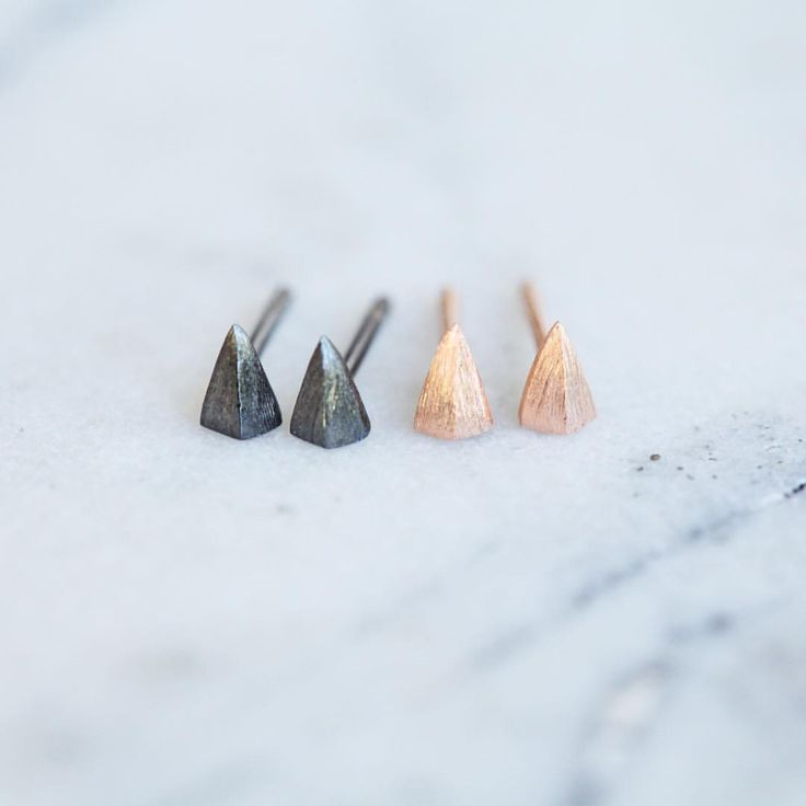 New in store. Micro stud arrowhead earrings in rose gold or our new fave metal ruthenium. Part of our #microstud range #earrings #studearrings #rosegold #jewellery #jewelry #fashion #style #accessories #theadorncollective #cuspsydney
