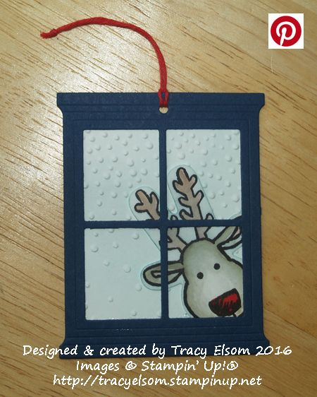 Quick and easy Christmas gift tag created using the Cookie-Cutter Christmas Stamp Set and Cookie-Cutter Builder Punch from the Stampin Up! 2016 Holiday Catalogue.  http://tracyelsom.stampinup.net