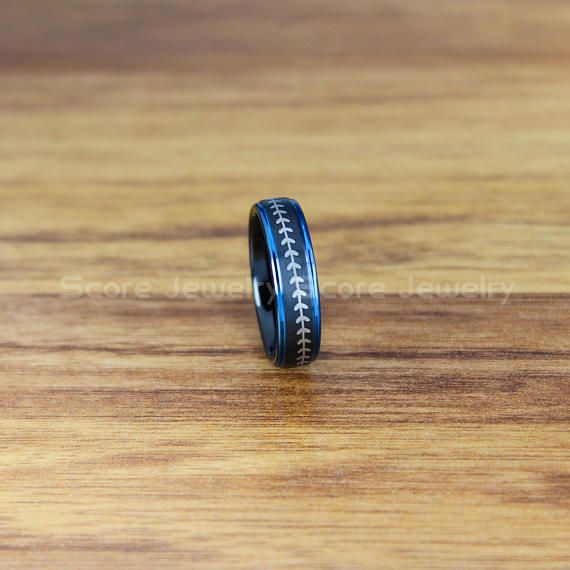 Baseball Ring 6mm Black Tungsten Band with Step Edge and