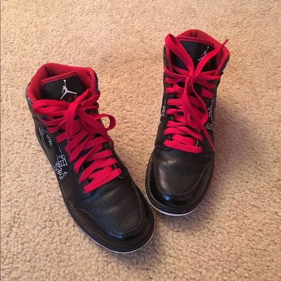 Black Jordan sneakers  Stunning black - red air Jordan sneakers size 6.5Y but definitely fits a 7.5 size very gently used excellent condition Jordan Shoes Athletic Shoes