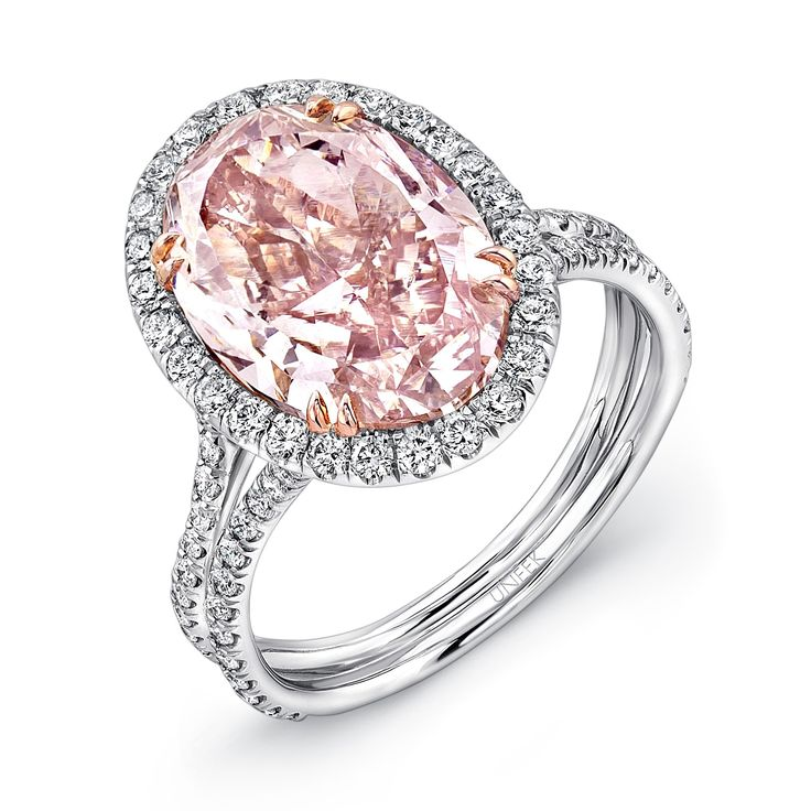 Uneek Fancy Brown Pink Oval Diamond Engagement Ring LVS889 - This ring features a gorgeous platinum pave-set split shank with perfect brilliant-cut round diamonds with a total weight of 0.80 carats and features a fancy pink oval center diamond of 5.15 carats.