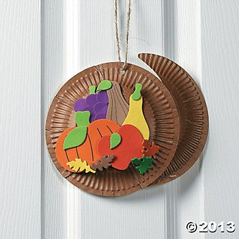 cornucopia craft | Paper Plate & Foam Cornucopia Craft Kit - Oriental Trading ...