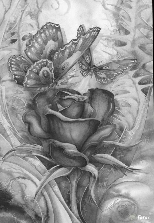 Rose Butterfly Coloring pages colouring adult detailed advanced printable Kleuren voor volwassenen