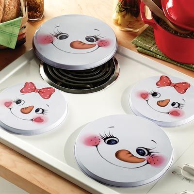 Snowman Face Round Stove Burner Covers  How cute!