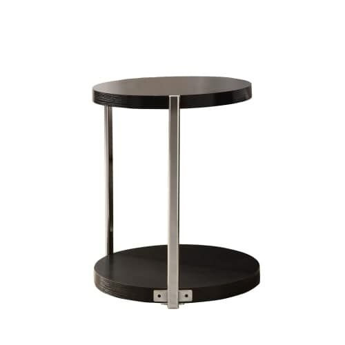 Monarch Specialties Side Table Iv 24 Inch Tall Round With Metal Frame Chrome Grey Finish