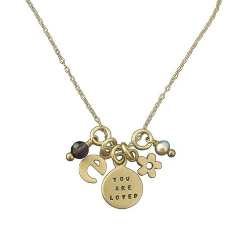 """14K Gold YOU ARE LOVED Initial Necklace, 18"""""""