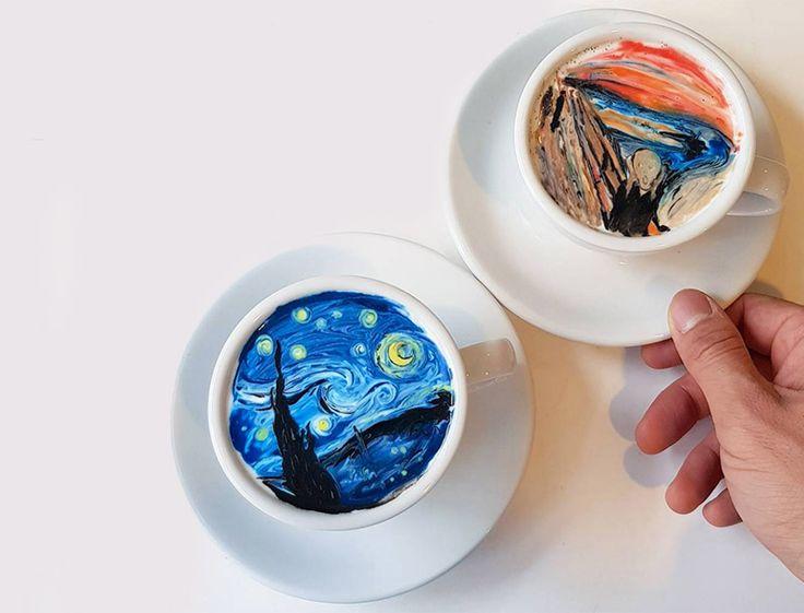 """Günümüzde sanat farklı şekillerde olabiliyor. Kahve üstüne süt köpüğü ve gıda boyalarıyla desen yapmak bir sanat dalı haline gelmiş durumda. Güney Koreli bir barista olan Lee Kang-bin, """"Latte Art"""" ya da """"Cream Art"""" olarak adlandırılan bu yeni sanatın öncülerinden.   #Sanat #Kahve #Süt #LatteArt #CreamArt #LeeKang-bin #VanGogh #StarryNight #EdvardMunch #Latte #Coffee #CoffeeLatte"""