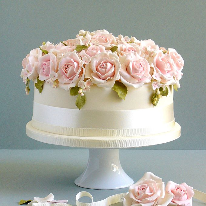 Ambiance~Distinctive Weddings & Events A Classic Wedding Cake; White One-Tier Cake with Roses Photo C/O brides.com  (410) 819-0046