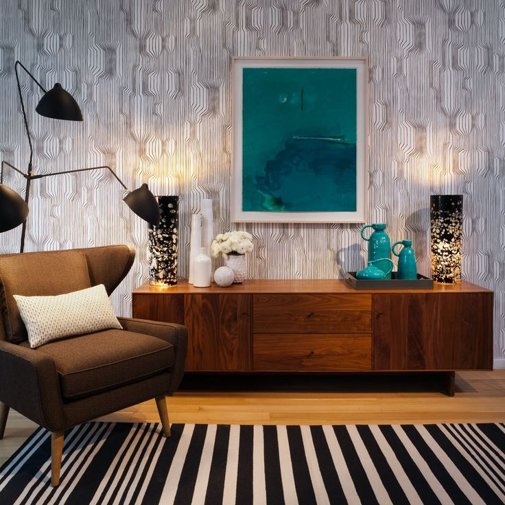 sideboard styling, rug + floor lamp
