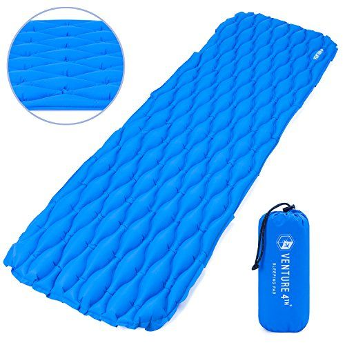 Ultralight Sleeping Pad by VENTURE 4TH | Lightweight, Compact, Durable, Tear Resistant, Supportive and Comfy | For Camping , Traveling , Lounging , Sleeping Bags , Hammocks , Hiking and More | Blue. For product & price info go to:  https://all4hiking.com/products/ultralight-sleeping-pad-by-venture-4th-lightweight-compact-durable-tear-resistant-supportive-and-comfy-for-camping-traveling-lounging-sleeping-bags-hammocks-hiking-and-more-blue/