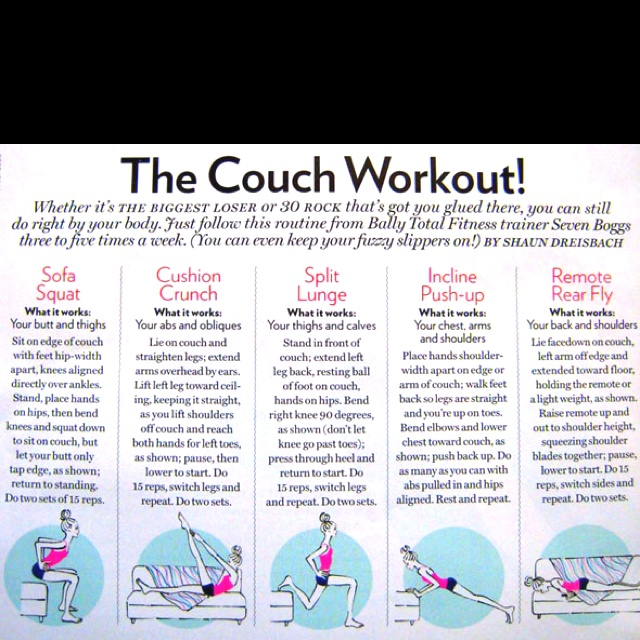 No excuses for being lazy anymore get my fitness on for Sofa workout