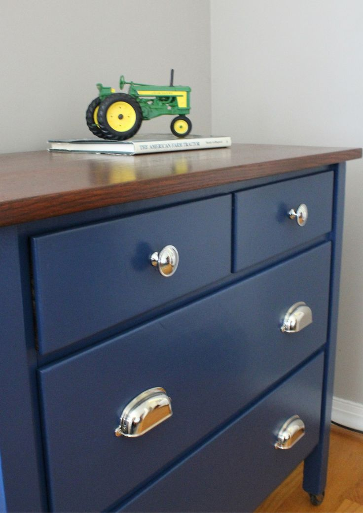 Navy Blue Dresser With Wood Stained Top