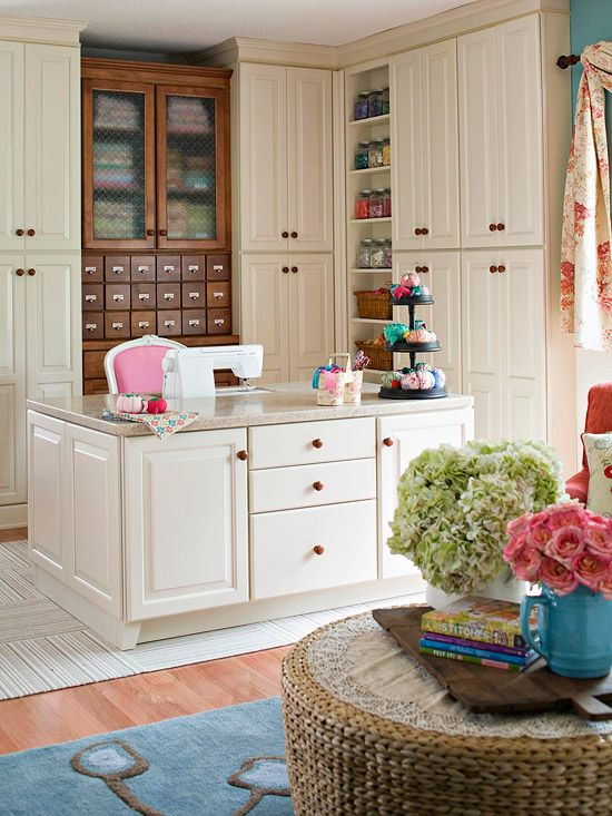Amazing sewing room work station and storage! What a wonderful space!