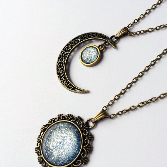 Ice Blue Necklace crescent moon necklace sun by AChicFairytale