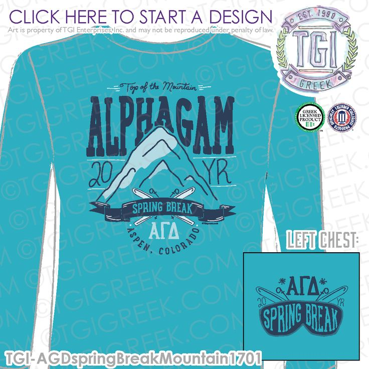 Alpha Gamma Delta | AΓΔ | Spring Break | Spring Break Shirt | Sorority Spring Break | Colorado Spring Break | TGI Greek | Greek Apparel | Custom Apparel | Sorority Tee Shirts | Sorority T-shirts | Custom T-Shirts