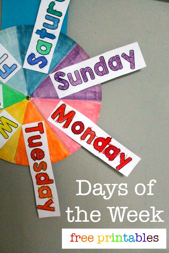 Days of the week free printables