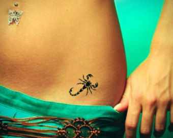 Scorpio tattoo. Temporary tattoos. Party fake tattoo Scorpio is the 8th sign of the #zodiac. For more about #Scorpio and #astrology visit: www.TheAstrologer.com/Scorpio