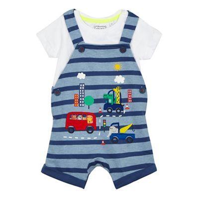 bluezoo Baby boys' blue animal applique dungarees and t-shirt set | Debenhams