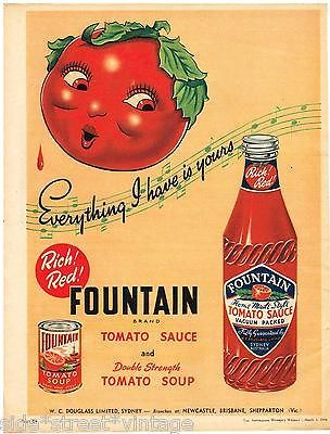 AUSTRALIAN Vintage Advertising FOUNTAIN  SAUCE BOTTLE ART AD 1950's Original Ad