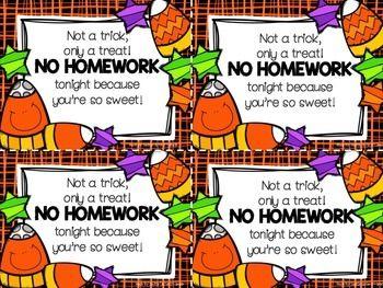 Halloween Homework Pass: Not a Trick only a Treat!