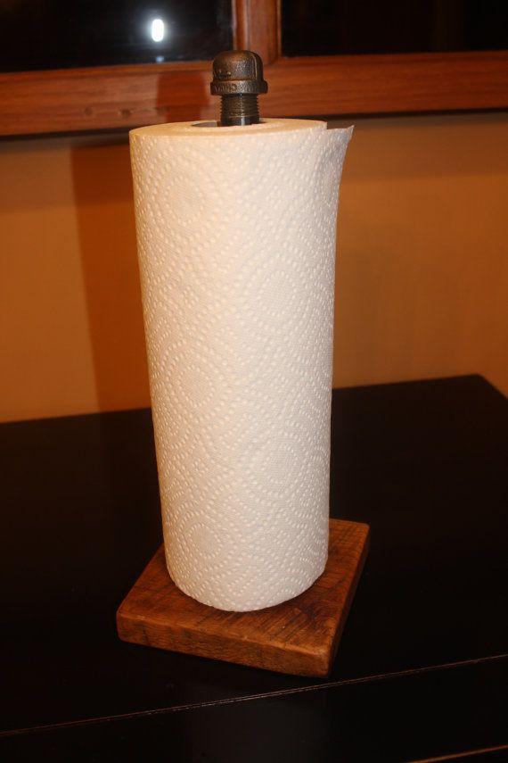Paper Towel Holder Barn Wood Board Cast Iron Black Pipe