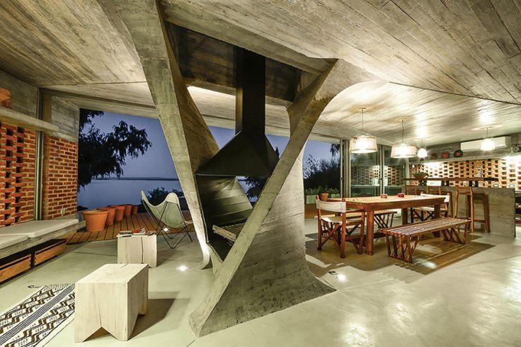 NE-AR Designs a Lake House Centered Around a Single Column