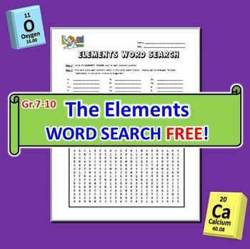 THE ELEMENTS WORD SEARCH:  This 33 term editable Word Search Puzzle with ANSWER KEY provides reinforcement for students to learn element names and element symbols for the first 20 elements of the Periodic Table, plus 13 bonus elements (Mn, Fe, Co, Ni, Cu, Zn, Br, Ag, Sn, I, Au, Hg, Pb).