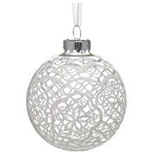 Wilko Heirloom Lace Bauble Christmas Tree Decoration White Www.wilko.com