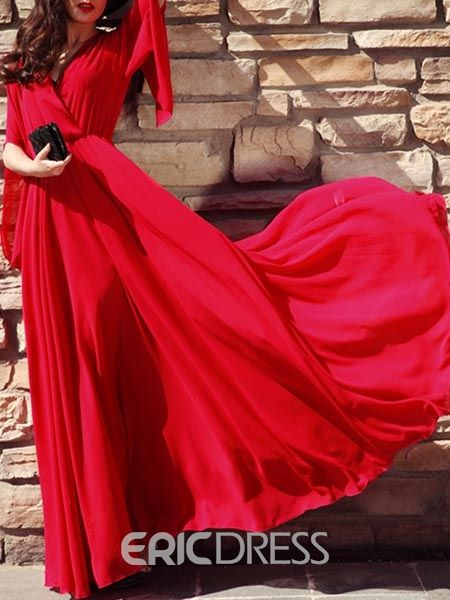 ericdress v neck plain maxi dress red dress maxi bohemian