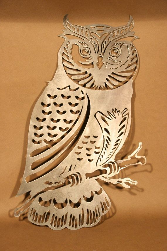 Highly Detailed Owl Plasma Cut Metal Wall Art Hanging Home Decor