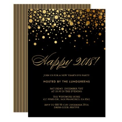 Faux Gold Foil Confetti New Year's Eve Party Black Card - formal speacial diy personalize style template