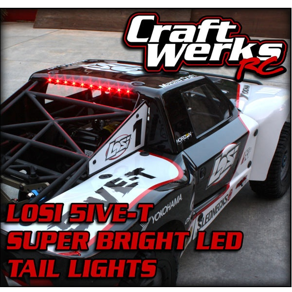 "CraftWerks-RC's ""Super Bright"" L.E.D. Tail Lights for the Losi 5ive-T, HPI Baja and most 1/5 scale vehicles."
