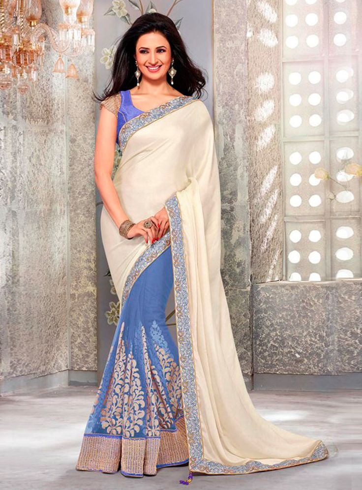 Divyanka Tripathi Blue Satin Half and Half Saree 81263
