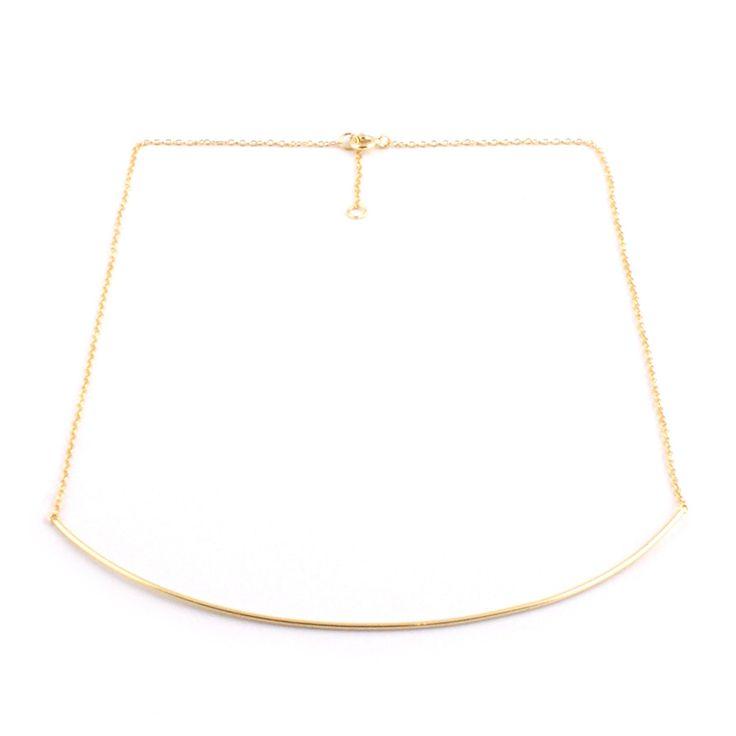 Gargantilla de plata chapada en oro con pieza tubular de 10cm. Puedes graduarla a 41cm o 44 cm.