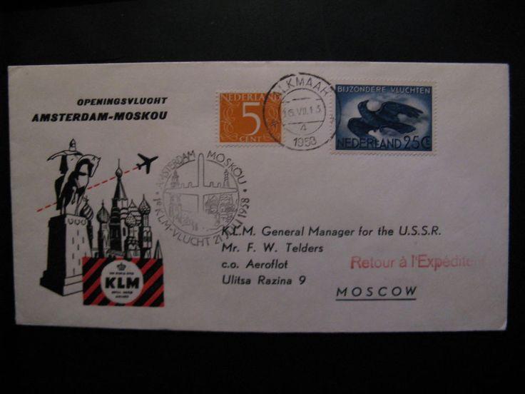 First KLM Flight - flightcover KLM: Amsterdam - Moscow 21-7-1958...