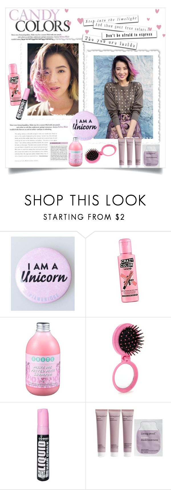 """Unicorn hair"" by gmg5 ❤ liked on Polyvore featuring beauty, Forever 21 and Living Proof"