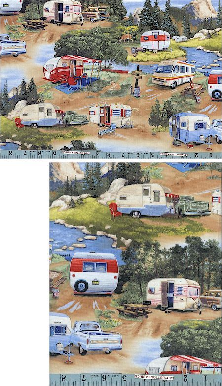 vintage camping trailers - fabric!