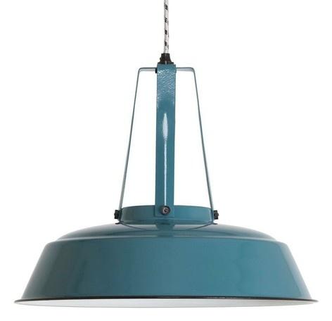 Industrial pendant lamp, petrol blue
