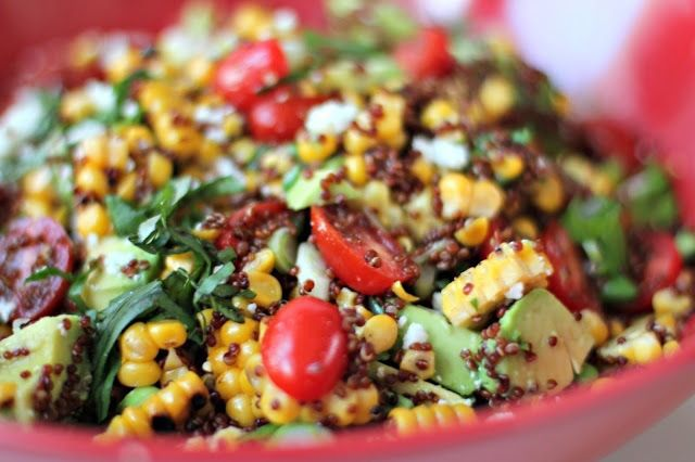 Healthy delicious corn and feta salad with quinoa, I also make it sometimes with couscous, both are delicious.... Great recipe from Australia !