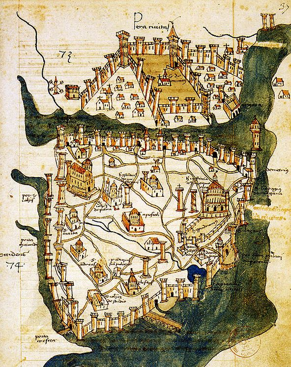 Cristoforo Buondelmonti's 1422 map of Constantinople. In addition to accurately showing the major landmarks, such as the Hagia Sophia and the complex system of double walls and defensive chains, the map illustrates how depopulated the beleagured city had become, with large spaces between buildings being given over to farming. The city has about 50,000 inhabitants when it fell to the Ottomans in 1453, in comparison with 400,000 in the eleventh century.