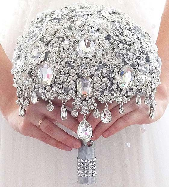 Crystal Bouquet for Spring Wedding